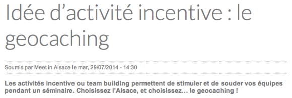 Incentive geocaching juillet 2015